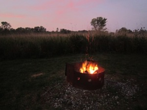 Bronte Creek Provincial Park: Savannah campsite overlooking the grass field